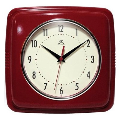 9u2033 Square Retro Kitchen Wall Clock, Red
