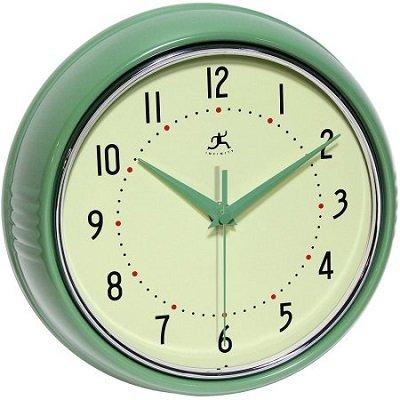 Retro 9 1/2 Inch Round Green Metal Wall Clock